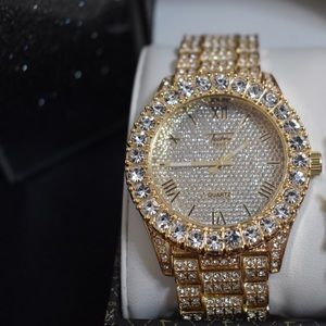 Other - Mens full Iced Out Gold PT Lab simulated diamond